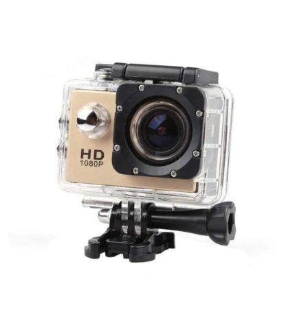 Sports Cam Full HD 1080 P 12MP Action Caméra Enregistreur Vidéo Étanche Plongée 30 M – Gold + Trepied