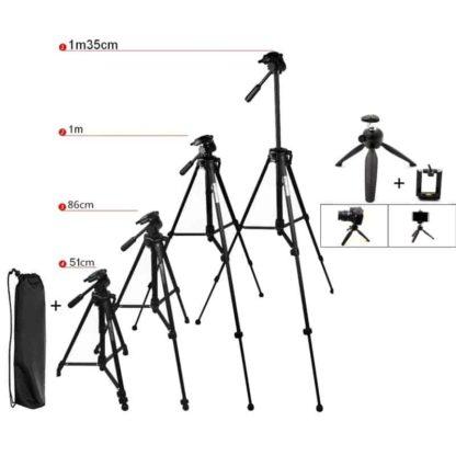 Trépied 1m35cm Ultraléger + Sac + Mini Trépied + Support de téléphone – Noir