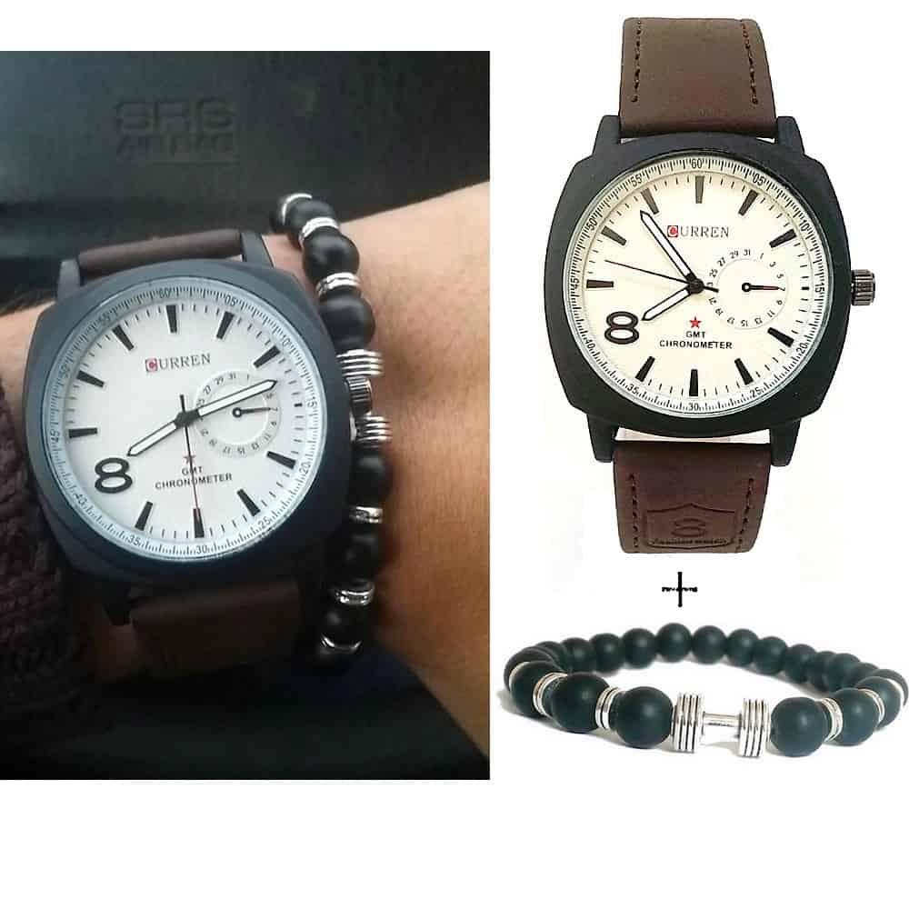 Montre Curren Marron + Bracelet Haltere