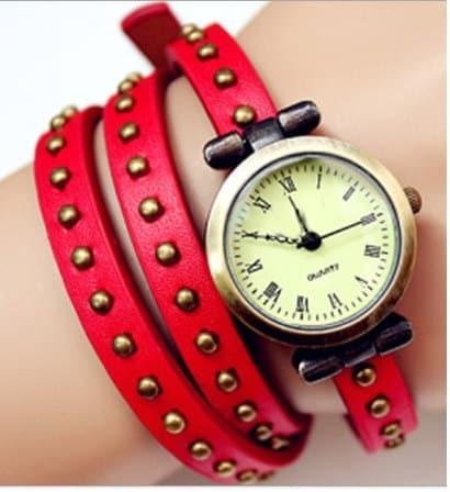 Montre Style Bracelet Cuir Rouge