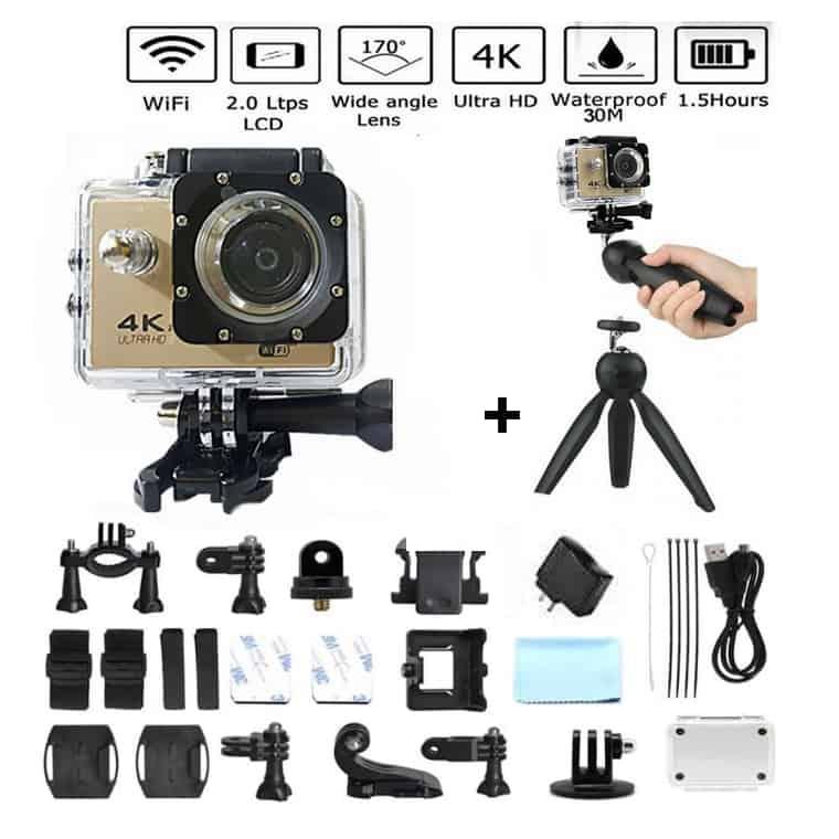 Caméra Action Ultra HD 4K Sports Wifi + Accessoires + Trépied  - Gold