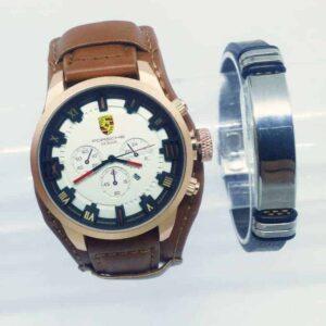 Montre Porsche Marron int Blanc avec Bracelet Cadeau