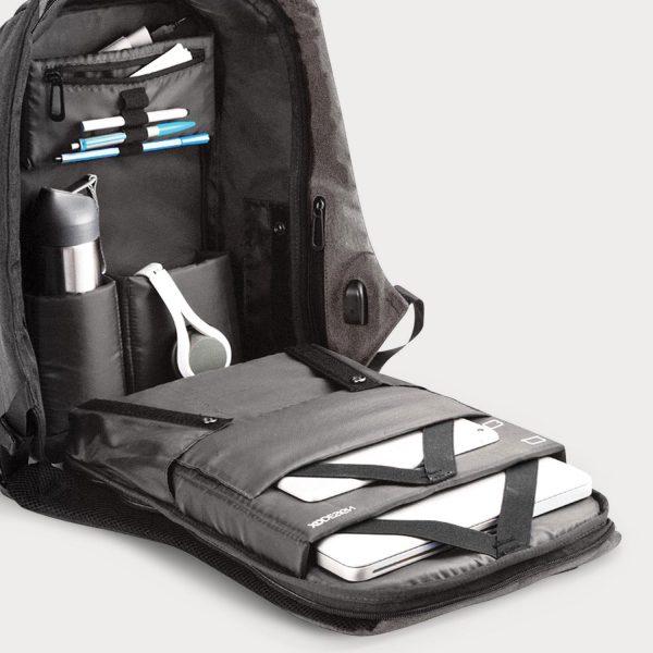 Cartable Sac à dos anti-vol avec port de charge USB - gris maroc moin chere