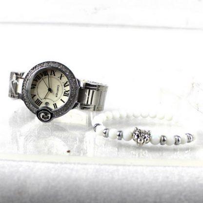 Achetez Montre Cartier Argenté avec Bracelet Leopard Blanc - Maroc