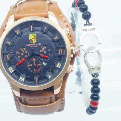 Montre Porsche interieur Noir Cuir Marron + Bracelet