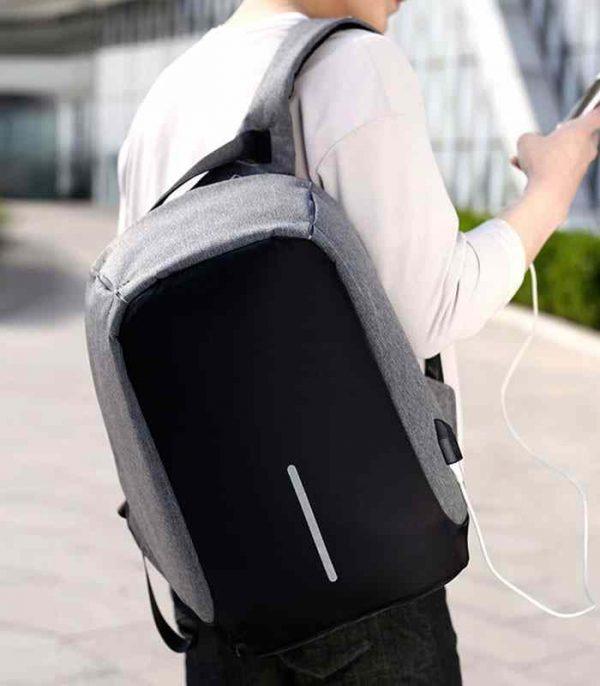 Cartable Sac à dos anti-vol avec port de charge USB - gris maroc moin chere promo