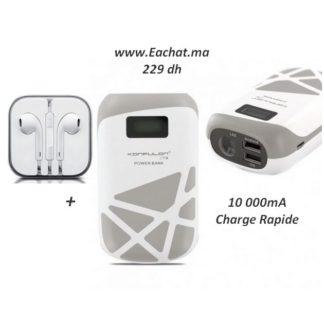 Konfulon Power Bank Originale Ecran LCD Capsule 10 000 mAh Dual Usb -Gris