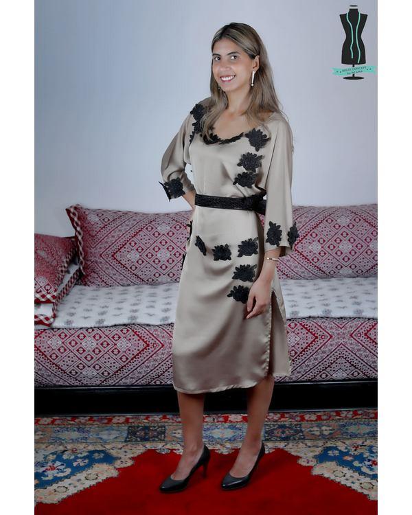 Robe Caftan en Soie avec des Fleures - Taille Standard