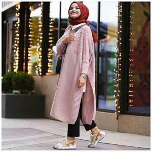 Tunique Pull longue en maille Tricot Disponible en plusieurs couleurs Taille Standard couleur moutard hijab rose