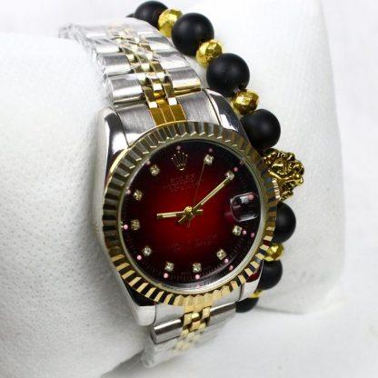 Montre Rolex Date juste Rouge avec Bracelet lion Cadeau