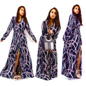 Robe Longue Chic Imprimé Chaines - Bleu