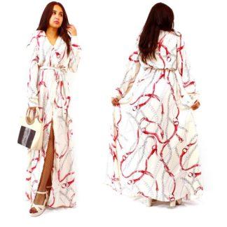 Robe Longue chaine blanc cassé