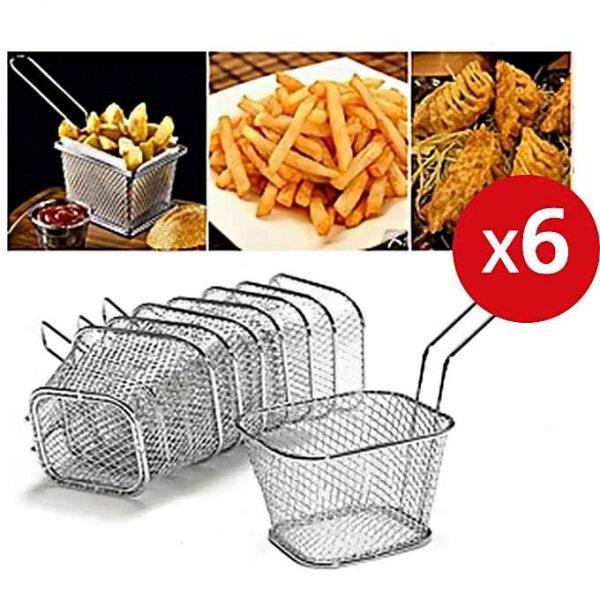 Pack 6 Mini Panier Présentation Alimentaire Inoxydable