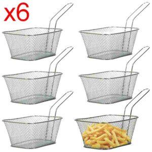 6 X Mini Chrome Chips Friteuse Snack Service 300x300 - Pack 6 Mini Panier Présentation Alimentaire Inoxydable