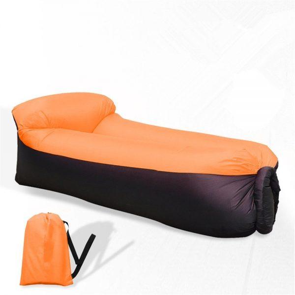 Canapé Relax Gonflable avec Sac de Rangement pour Camping Piscine Plage Jardin maroc plage orange