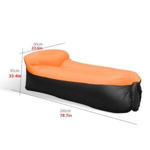 Canapé Relax Gonflable avec Sac de Rangement pour Camping Piscine Plage Jardin maroc plage orange dimension