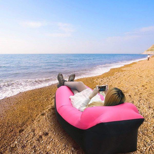 Canapé Relax Gonflable avec Sac de Rangement pour Camping Piscine Plage Jardin maroc plage rose 2