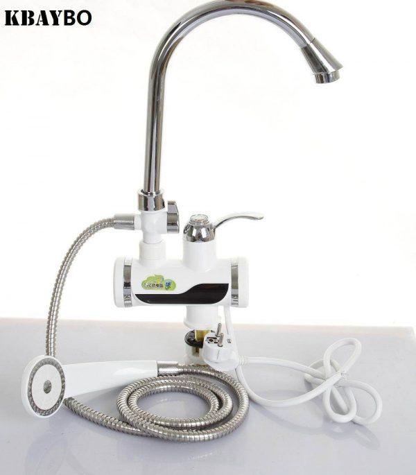 Robinet de chauffage instantané d'eau chaude et froide + Affichage de la température+ Pomme de douche