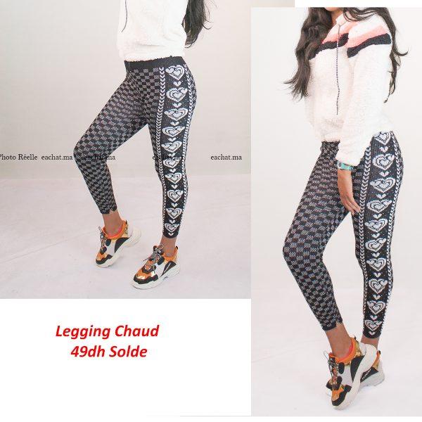 Legging Laine Chaud Nordique Tricoté Coeur- Noir حوايج البرد سروال