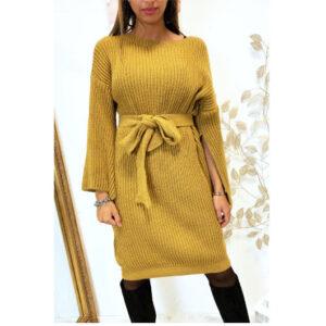 Robe Pull Avec Ceinture et Ouvert au Manches - Moutarde solde maroc