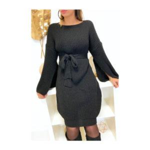 Robe Pull Avec Ceinture et Ouvert au Manches - Noir solde maroc promo