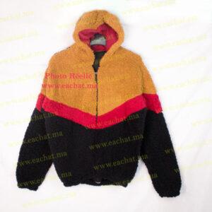 Sweat à Capuche en Peluche Polaire Chaud - Image Réelle - Taille Standard moutard rouge