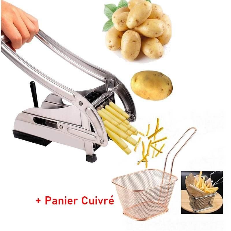 Coupe Frites Rapide + Mini Panier Inoxydable Cuivré